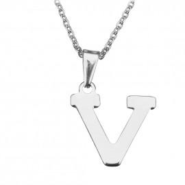 """Ocelový řetízek s přívěškem iniciála """"V"""""""