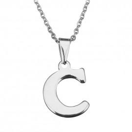 """Ocelový řetízek s přívěškem iniciála """"C"""""""