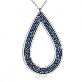 Ocelový náhrdelník s krystaly Crystals from Swarovski®, BERMUDA BLUE