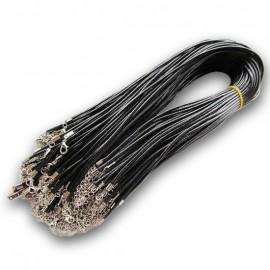 Voskovaná šňůrka na krk černá, tl. 1,5 mm, délka 45 cm