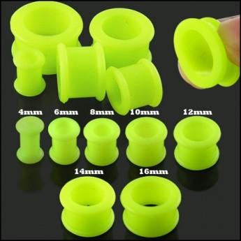 Silikonový tunel do ucha - svítivě zelený