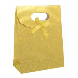 Dárková taška s mašlí zlatá