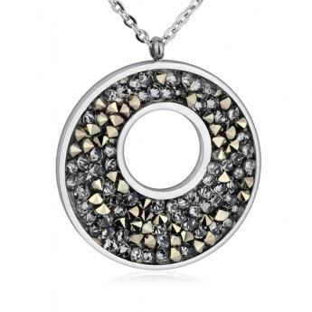 Ocelový náhrdelník s krystaly Crystals from Swarovski®, GOLDEN CHOCOLATE