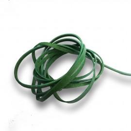 Řezaná kožená šňůrka zelená, tl. 2 mm, délka 100 cm