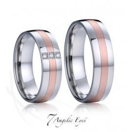 Snubní prsteny chirurgická ocel s brilianty 1 pár AE034