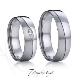 Snubní prsteny chirurgická ocel s brilianty 1 pár AE035