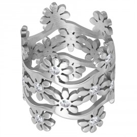 Prsten chirurgická ocel květy LWRP136