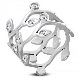 Prsten chirurgická ocel lístky LWRP134