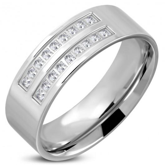 Prsten chirurgická ocel s kamínky LRCT550
