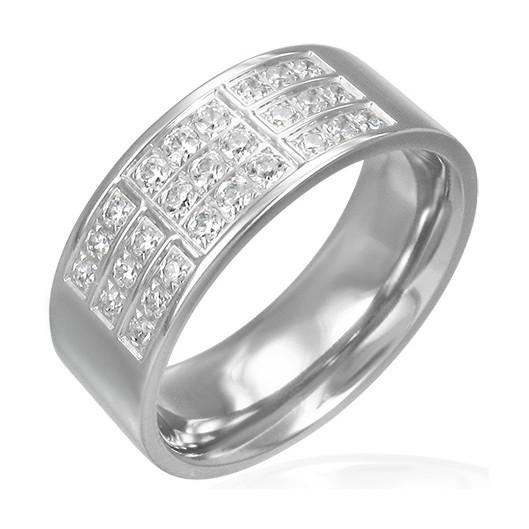 Prsten chirurgická ocel s kamínky LZRC064
