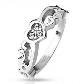 Prsten chirurgická ocel s kamínky HWRM4515