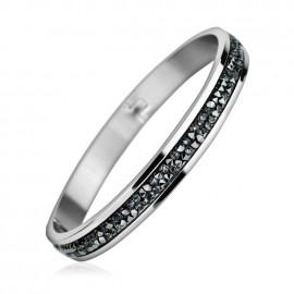 Ocelový náramek s krystaly Crystals from Swarovski® GREY METALISEÉ