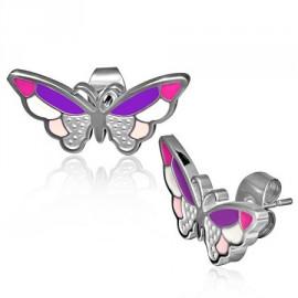 Naušnice chirurgická ocel motýl LERR281