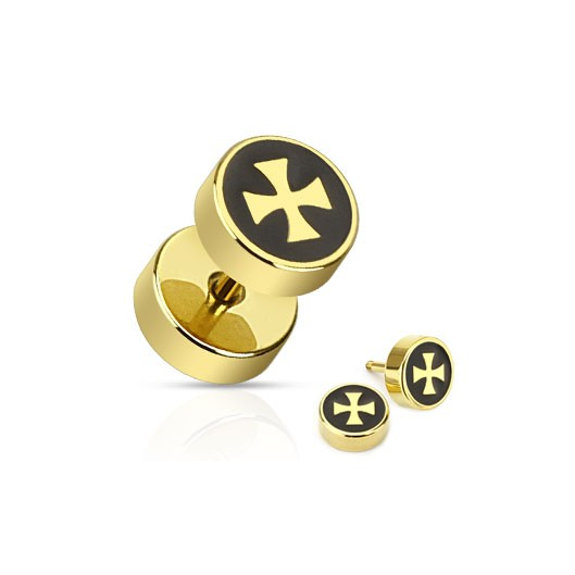 Piercing falešný plug železný kříž HWPSFX55