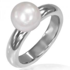 Prsten chirurgická ocel s perlou LRCZ135