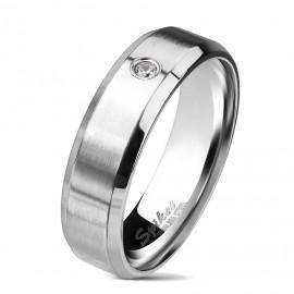 Matný ocelový prsten se zirkonem