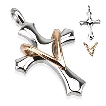Přívěsek chirurgická ocel kříž HWSSPM5793
