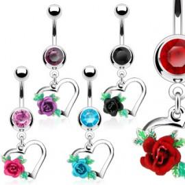 Piercing do pupíku srdce a růže HWNSQ2427