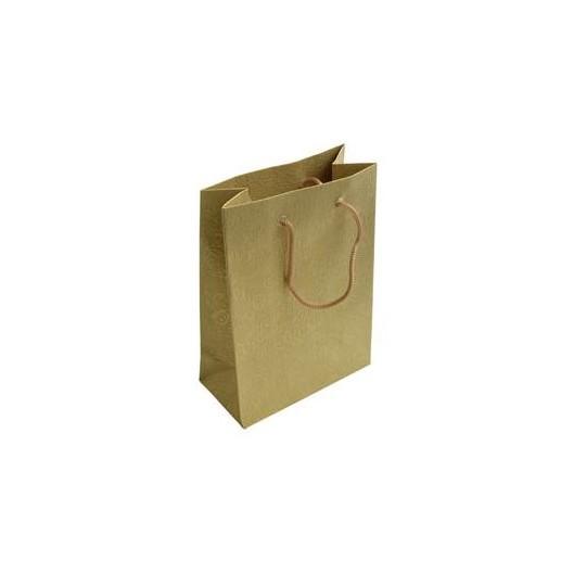 Dárková taška zlatá s květinovým dekorem