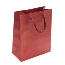 Dárková taška červená s květinovým dekorem