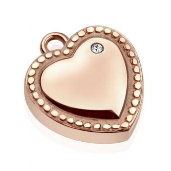 Drobný ocelový přívěšek - srdce zlacené