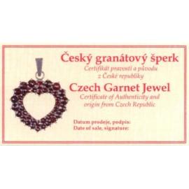 Stříbrný set český granát náušnice + přívěšek