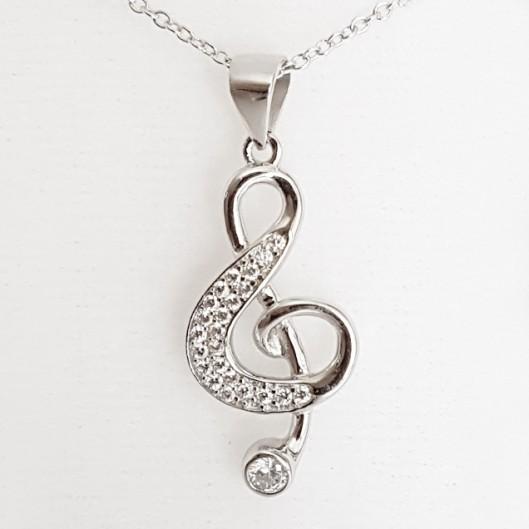 Stříbrný řetízek a přívěšek houslový klíč