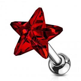 Cartilage piercing do ucha - hvězdička, barva červená