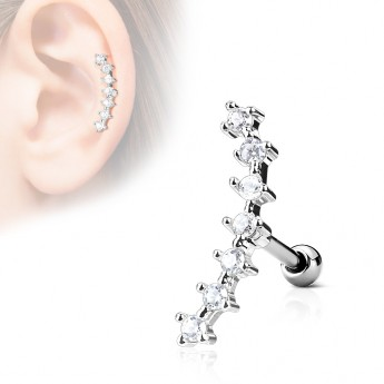 Cartilage piercing do ucha - čiré kamínky