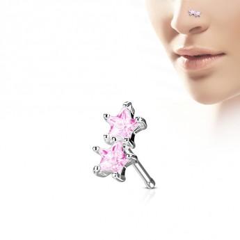 Piercing do nosu hvězdičky, růžové kamínky