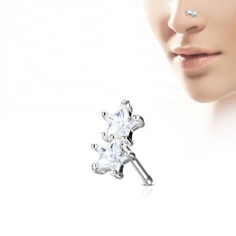 Piercing do nosu hvězdičky, čiré kamínky