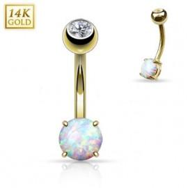 Zlatý piercing do pupíku s opál malý, Au 585/1000