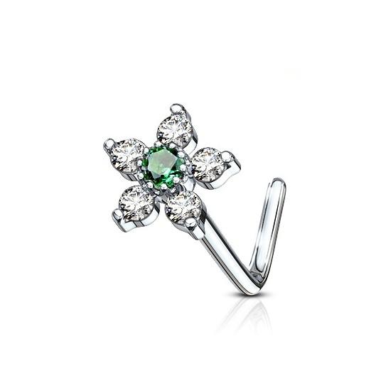 Zahnutý piercing do nosu, zelený kamínek