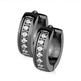 Černé ocelové náušnice - kroužky se zirkony
