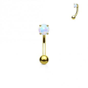 Zlacený piercing do obočí - opál, bílá barva
