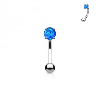 Piercing do obočí - opál, modrá barva