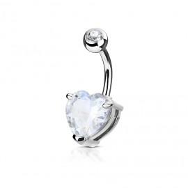 Piercing do pupíku srdce, čirý kámen 10 mm