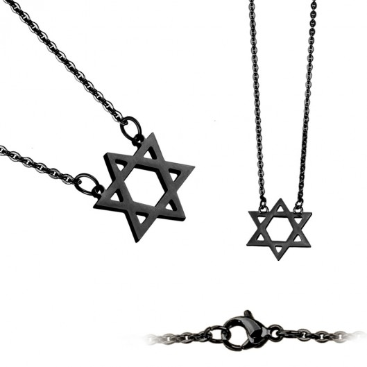 Černý ocelový náhrdelník - Davidova hvězda