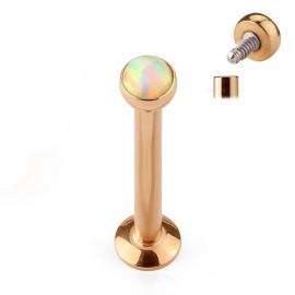 Zlacený piercing do brady - labreta 1,2 x 6 mm, opál