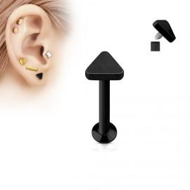 Černý piercing do brady - labreta 1,2 x 6 mm, trojúhelník