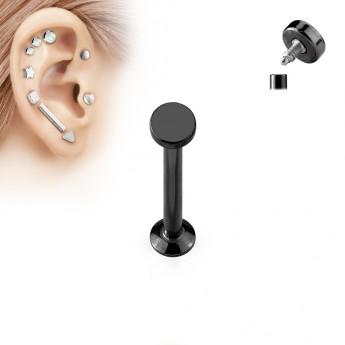 Černý piercing do brady - labreta 1,2 x 6 mm, kolečko 4 mm