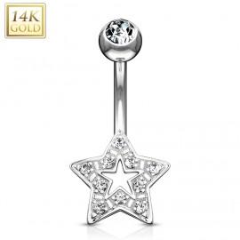 Zlatý piercing do pupíku hvězdička, čiré zirkony, Au 585/1000