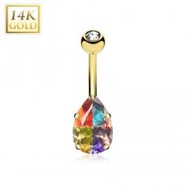 Zlatý piercing do pupíku - barevná kapka, Au 585/1000