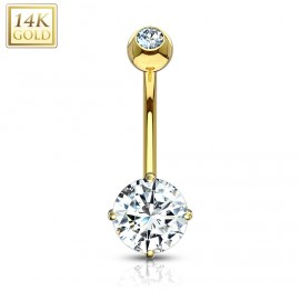 Zlatý piercing do pupíku - čiré zirkony, Au 585/1000