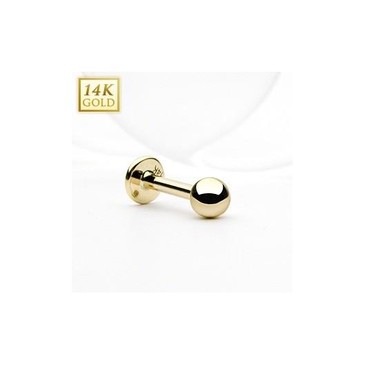 Zlatý piercing do brady - labreta, Au 585/1000