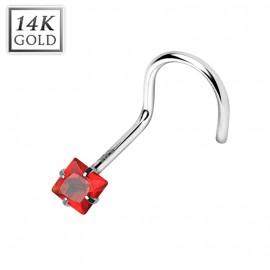 Zlatý piercing do nosu - čtvercový zirkon, Au 585/1000