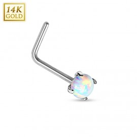 Zlatý piercing do nosu Opál, Au 585/1000