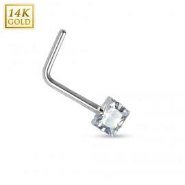 Zlatý piercing do nosu čirý zirkon, Au 585/1000