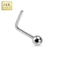 Zlatý piercing do nosu kulička, Au 585/1000