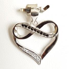 Stříbrný přívěšek srdce se zirkony